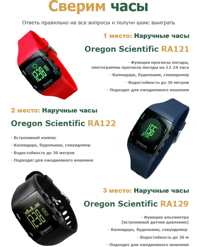 Призы от Oregon Scientific