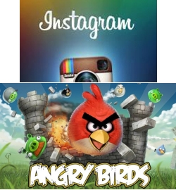 Приложение Instagram и Angry Birds Space для Android