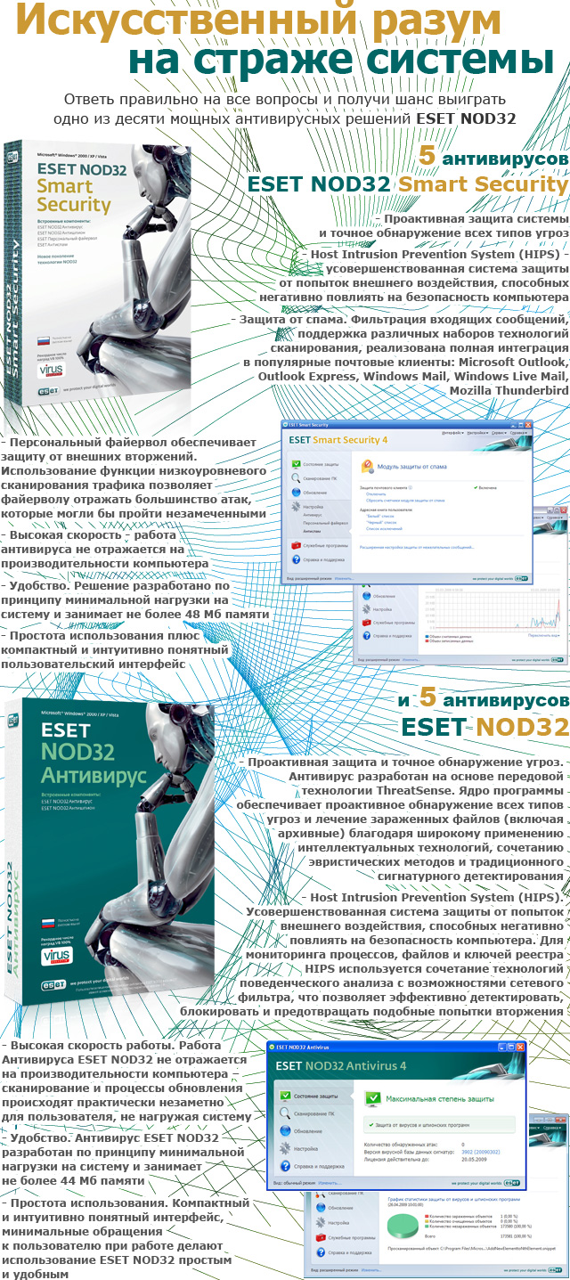 Призы от ESET: антивирус ESET NOD32 Smart Security и антивирус ESET NOD32