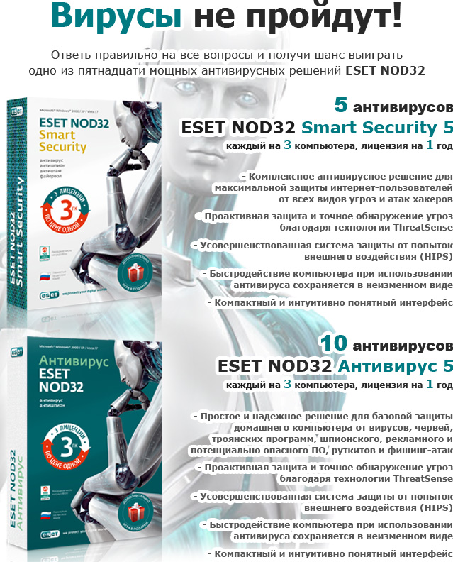 Призы от ESET: антивирус ESET NOD32 Smart Security 5 и антивирус ESET NOD32 Антивирус 5