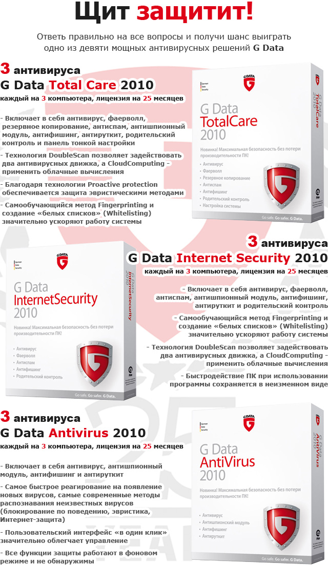 Призы от G Data: антивирусы G Data Total Care 2010, G Data Internet Security 2010 и G Data Antivirus 2010