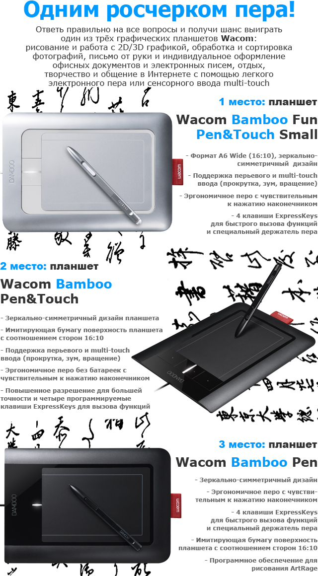 Призы от Wacom: планшеты Wacom Bamboo Fun Pen & Touch Small, Wacom Bamboo Pen & Touch и Wacom Bamboo Pen