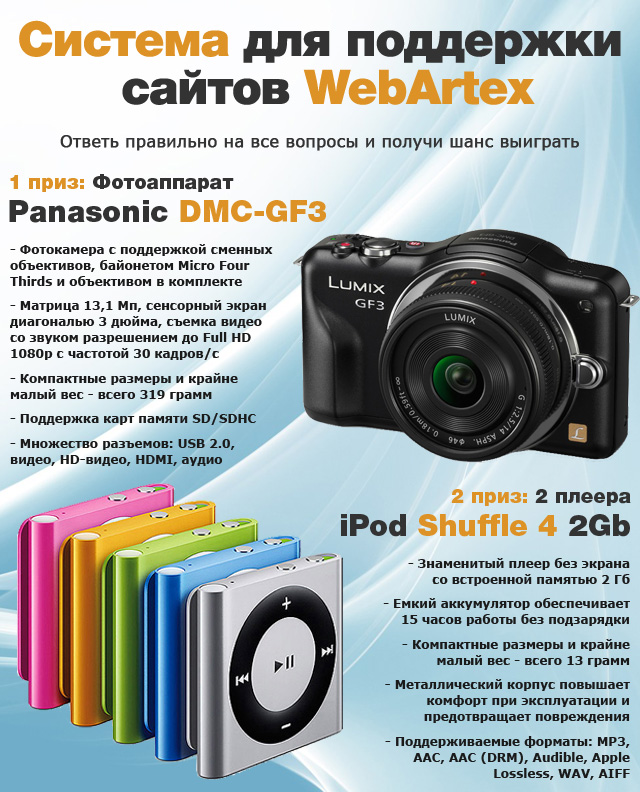 Призы от WebArtex: фотоаппарат Panasonic Lumix DMC-GF3 Kit и два плеера Apple iPod Shuffle 4 2Gb